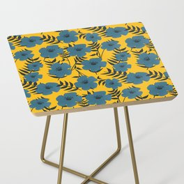Blue Flowers with Banana Leaves with Yellow Side Table