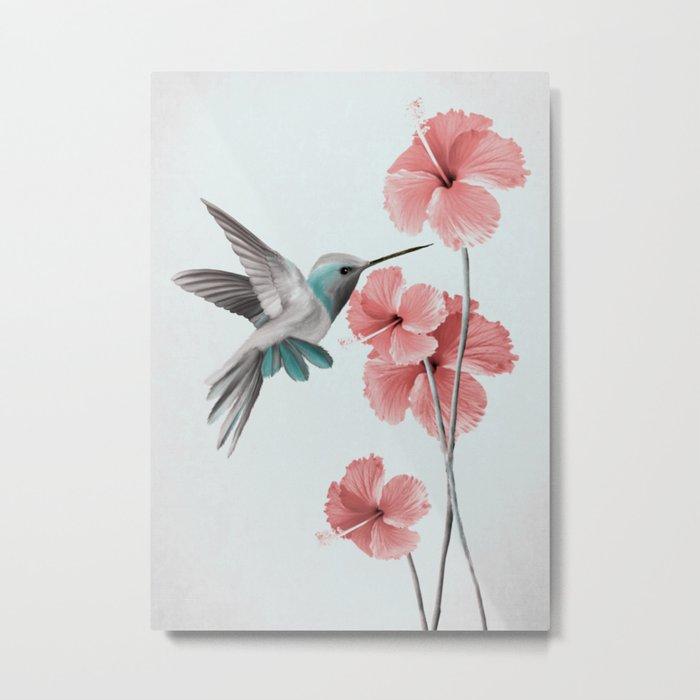 Hummingbird with Hibiscus Metal Print