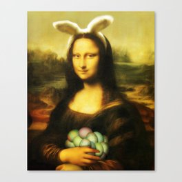 Easter Mona Lisa with Bunny Ears and Colored Eggs Canvas Print