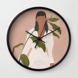 Elegant Lady holding a Flower Wall Clock