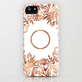 Letter O - Faux Rose Gold Glitter Flowers iPhone Case