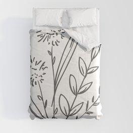 Line Art of Flowers 2 Comforters