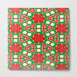 Red, Green and White Kaleidoscope 3372 Metal Print
