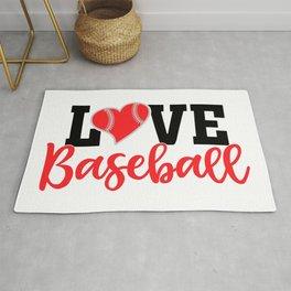 Love Baseball Typography Heart Rug
