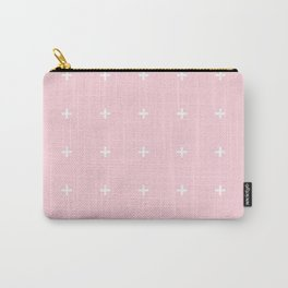 PLUS ((white on pastel pink)) Carry-All Pouch