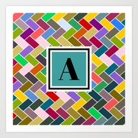 monogram Art Prints featuring  A Monogram by mailboxdisco