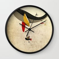 fly Wall Clocks featuring I believe i can fly by Riccardo Guasco
