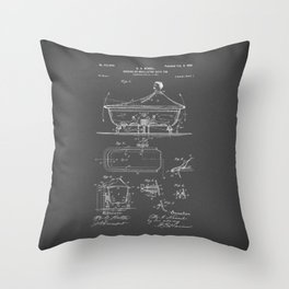 Rocking Oscillating Bathtub Patent Engineering Drawing Throw Pillow
