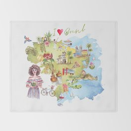 Brasil Map Throw Blanket