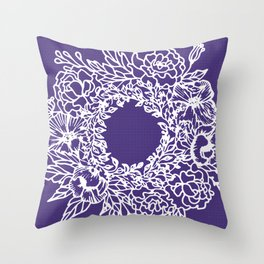 White Flowery Linocut Wreath On Checked UltraViolet Throw Pillow