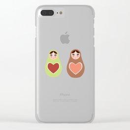 pattern Russian dolls matryoshka mint pink brown Clear iPhone Case
