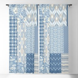 Modern Patchwork Quilt Pattern with Flowers and Geometric Shapes in Blue and Warm Gray Blackout Curtain