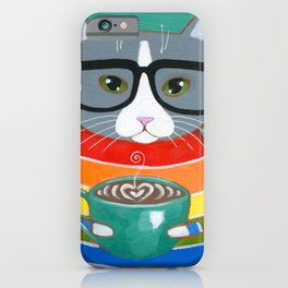 Rainbow Grey Tuxedo Coffee Cat iPhone Case