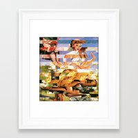 xena Framed Art Prints featuring Glitch Pin-Up Redux: Xena by Wayne Edson Bryan