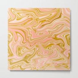 Gold Caramel Pastel Pink Metal Print