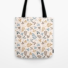 Assorted Leaf Silhouettes Ptn Blues Brwn Gld Crm Tote Bag
