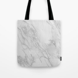 Marble Love Silver Metallic Tote Bag