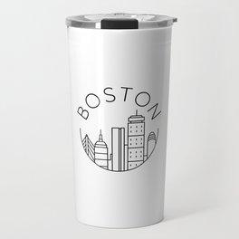 Boston Skyline Illustration Travel Mug