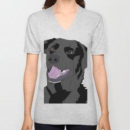Black Labrador Dog (face) Unisex V-Neck