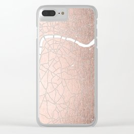 RoseGold on White London Street Map II Clear iPhone Case