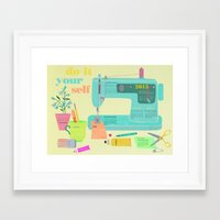 calender Framed Art Prints featuring DIY Calender 2015 by Elisandra