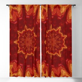 Red Supernova - Abstract Kaleidoscope Art by Fluid Nature Blackout Curtain