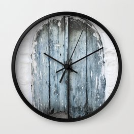 Old wooden door photo print, Crete, Greece, travel photography Wall Clock