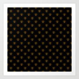 Foil Bees on Black Gold Metallic Faux Foil Photo-Effect Bees Art Print