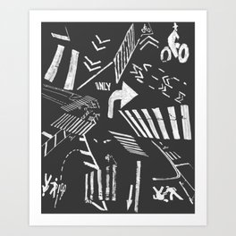 Traffic - crosswalks and bike lanes in NYC Art Print