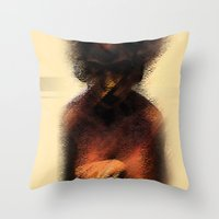 afro Throw Pillows featuring AFRO by Marian - Claudiu Bortan