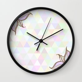 Hand drawn illustration with ornament love with triangles backdrop. Graphic colorful pastel  Wall Clock