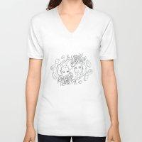 mermaids V-neck T-shirts featuring Mermaids by viviennart