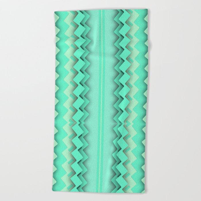 Mint paper zigzag Beach Towel