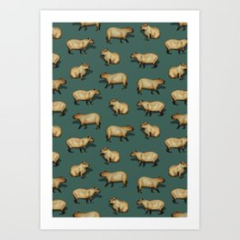 Cute Capybara Pattern - Giant Rodents on Dark Teal Art Print