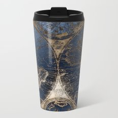 World Map Deep Blue and Gold Metal Travel Mug