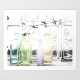 Glass bottles Art Print