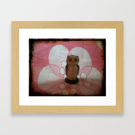 Owl with pink background Framed Art Print