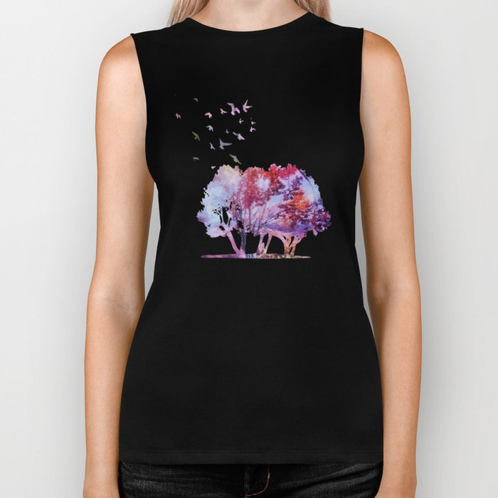 Waterfall in colorful autumn forest Biker Tank