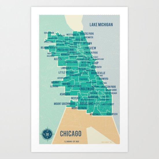 City of Chicago Map Art Print