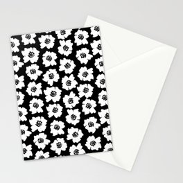Linocut botanical nature floral flower art nursery black and white decor newborn Stationery Cards
