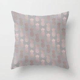 Girly rose gold & grey pineapple pattern Throw Pillow
