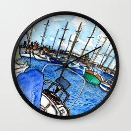 Boats at the Marina Wall Clock