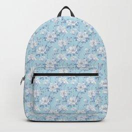 Light Blue Flower Pattern Backpack