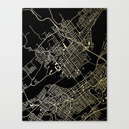 Wilkes-Barre Gold and Black Map Canvas Print