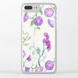 Morning glory pattern Clear iPhone Case