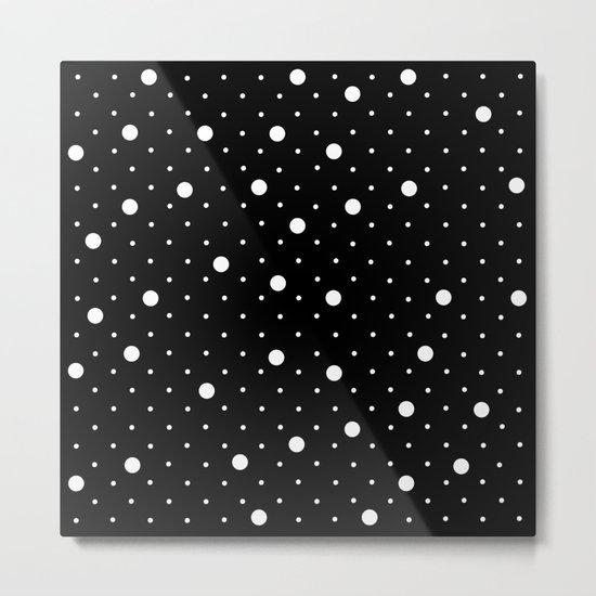 Pin Point Polka Dots White on Black Metal Print