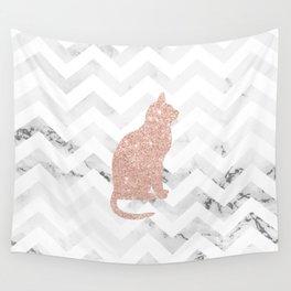Modern rose gold glitter cat on white marble chevron pattern Wall Tapestry