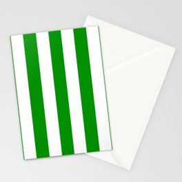 Islamic green - solid color - white vertical lines pattern Stationery Cards