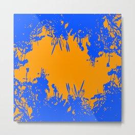 Orange And Blue Grunge Artwork Metal Print