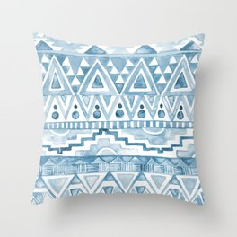 Watercolor Aztec Pattern blue Throw Pillow
